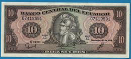 ECUADOR 10 SUCRES 22.11.1988 # LQ 07419591  P# 121 Sebastián De Benalcazar - Ecuador