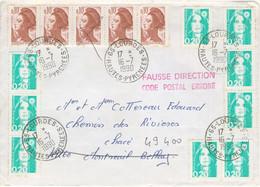 BANDE 10C LIBERTE DE GANDON 9X 20C MARIANNE BRIAT TARIF LETTRE 2.30F OBLITERATION LOURDES 16/7/90 FAUSSE DIRECTION - 1961-....