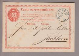 CH Heimat TG Müllheim 1870-11-03 Blau Einkreis-Stempel Auf 5Rp. Rot Ganzsache Nach Steckborn - Covers & Documents
