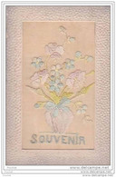 Carte Brodée : Souvenir   - (vase  De Fleurs Pensées) - Bordados