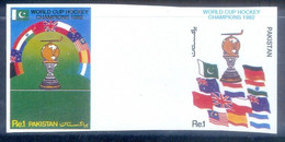 B162- Pakistan 1982 Imperf Set With Gutter World Cup Hockey Champions India Australia New Zealand England Very Hard. - Pakistan