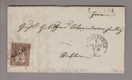 CH Heimat TG Herdern 1866-02-06 Langstempel Auf Brief Nach Steckborn Mit 5Rp. Braun Sitzende H. - Covers & Documents