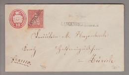 CH Heimat TG Langenrickenbach 1873-12-12 Langstempel Auf 10Rp. Tübli + 10Rp. Karmin Sitzende H. - Covers & Documents