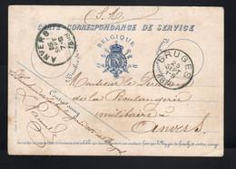 Carte Correspondance De Service Bruges Pour Anvers 25 Septembre 1888  Boulagerie Militaire - Officials