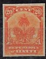 1896. ARMOIRES. YV Nº 44. 20c ORANGE NON DENTELÉ. EPREUVE DE PLANCHE - Haiti
