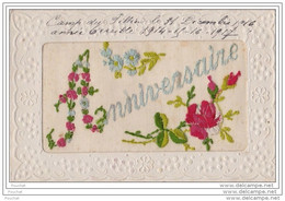 CARTE BRODEE - ANNIVERSAIRE - AVEC FLEURS - Embroidered