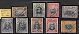 1901.- YV Nº 42/50. PRUEBAS EN OTROS COLORES Y SIN DENTAR DE WATERLOW & SONS - Costa Rica