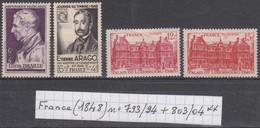 France (1948) Y/T  Braille N°793 + Arago N°794 + Palais Du Luxembourg N°803/804 Neufs ** - Unused Stamps