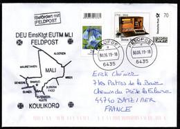 "MALI Enveloppe Cover Feldpost Allemagne From EUTM Koulikoro Oblitération ""a 6435"" Pour La France. Dernier Jour Du Tarif. - Militaria"