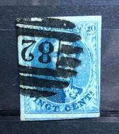 België, 1858, Medaillons, Nr 11A, Stempel P82 8b Menen, OBP 12€+ - 1858-1862 Medallions (9/12)