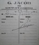 G 25 Facture/document Entete Vins A Loctudy - Alimentos