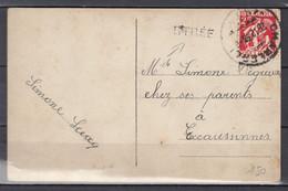 Postkaart Van Charleroi Naar Ecaussinnes Met Griffe Stree - Lineari