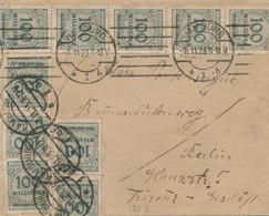 Deutsches Reich - 1923 - 10x 100Mio = 1Mrd Franking On Inland Cover From Hamburg To Berlin - Storia Postale