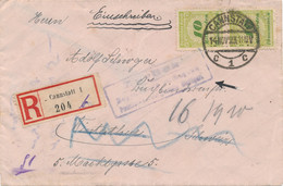Deutsches Reich - 1923 - 5x 10 Mrd = 50 Mrd Mark Franking On Censored And Rejected R-cover From Cannstatt To Winterthur - Storia Postale