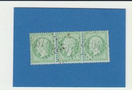 3er Streifen Napoléon Empire Dentelé 5c Losange Gros Chiffre 5104 Shanghai - Napoléon III