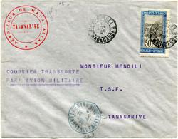 """MADAGASCAR LETTRE """" COURRIER TRANSPORTE PAR AVION MILITAIRE """" DEPART DIEGO-SUAREZ 17 NOV 36 MADAGASCAR POUR MADAGASCAR - Covers & Documents"""