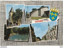 77) VILLEPARISIS (SEINE ET MARNE) L' EGLISE ST MARTIN , LA NOUVELLE EGLISE , L' ETANG , LA MAIRIE  + BLASON - (2 SCANS) - Villeparisis