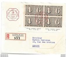 """244 - 70 - Enveloppe Recommandée Avec Bloc De 4 Timbres Et Oblit Spéciale """"100 Jahre CH Briefmarken"""" 1943 - Marcophilie"""