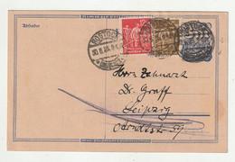 Deutsches Reich - 1923 - Postkarte Mit Infla-Zusatzfrankatur Ex Rostock (2049) - Storia Postale