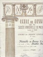 1934 Diplôme Illustré /Ecole De Dessin Sté Industrielle Mulhouse / Médaille De Bronze à Streicher André /Franc-Maçon ? - Diploma & School Reports