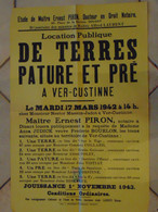 JM13.03 / VIEUX PAPIERS / AFFICHE NOTARIALE 56 X 36 Cm / LOCAT.PUBL.TERRES-PATURE Et PRE / VER-CUSTINNE 1942 - Posters