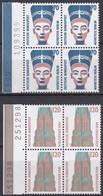 BRD, Sehenswürdigkeiten (III), 1988, Mi.Nr. 1374-1375 ** 2 Viererblöcke Mit Bogenzähler - Neufs