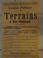 JM13.03 / VIEUX PAPIERS / AFFICHE NOTARIALE 53 X 35 Cm / LOCAT.PUBL.TERRAINS / VER-CUSTINNE 1935 - Posters