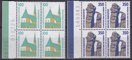 BRD, Sehenswürdigkeiten (VI), 1989, Mi.Nr. 1406-1407 ** 2 Viererblöcke Mit Bogenzähler - Neufs