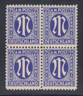 Bizone 1945, AM-Post 25 Pfg. Amerik. Druck Glattes Pap. Mi.-Nr. 9x Viererbl. ** - Bizone