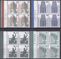 BRD, Sehenswürdigkeiten (I), 1987, Mi.Nr. 1339-1342 ** 4 Viererblöcke Mit Bogenzähler - Neufs