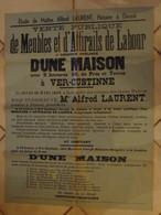 JM13.03 / VIEUX PAPIERS /  AFFICHE NOTARIALE 72 X 55 Cm / VENT.PUBL.ATTIRAILS DE LABOUR- LOC.MAISON / VER-CUSTINNE 1938 - Posters
