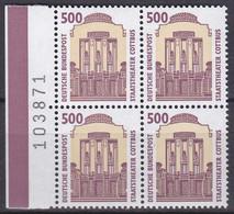 BRD, Sehenswürdigkeiten (XIV), 1993, Mi.Nr. 1679 ** Ein Viererblock Mit Bogenzähler - Neufs