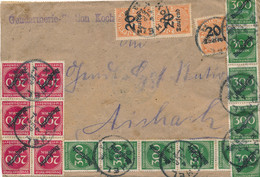 Deutsches Reich - 1923 - 80+ Stamps On Inland Cover Gendarmerie Kochel To Aichach - Some Mounted On Top Of Other Stamps - Storia Postale