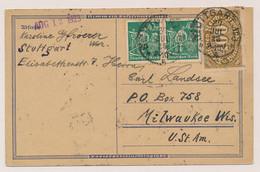 Deutsches Reich - 1923 - 480Pf Franking On International Postcard From Stuttgart To Milwaukee / USA - Storia Postale