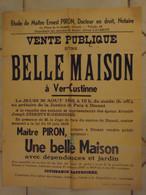 JM13.03 / VIEUX PAPIERS /  AFFICHE NOTARIALE 56 X 43 Cm / VENT.PUBL.BELLE MAISON   / VER-CUSTINNE 1945 - Posters