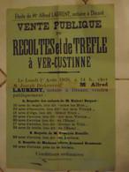 JM13.03 / VIEUX PAPIERS /  AFFICHE NOTARIALE 56 X 36 Cm / VENT.PUBL.RECOLTES Et De TREFLE   / VER-CUSTINNE 1938 - Posters