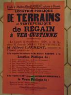 JM13.03 / VIEUX PAPIERS /  AFFICHE NOTARIALE 56 X 36 Cm / LOC.PUBLIQ.TERRAINS / VENT.PUBL.de REGAIN  / VER-CUSTINNE 1938 - Posters