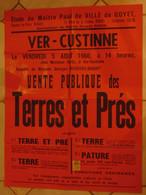 JM13.03 / VIEUX PAPIERS / MAXI  AFFICHE NOTARIALE 72 X 56 Cm / VENT.PUBL.TERRES Et  PRES / VER-CUSTINNE 1960 - Posters