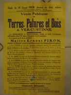 JM13.03 / VIEUX PAPIERS /  AFFICHE NOTARIALE 56 X 36 Cm / VENT.PUBL.TERRES-PATURES Et  BOIS / VER-CUSTINNE 1946 - Posters