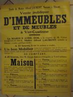 JM13.03 / VIEUX PAPIERS /  MAXI AFFICHE NOTARIALE 72 X 54 Cm / VENT.PUBL.IMMEUBLES Et De MEUBLES / VER-CUSTINNE 1938 - Posters