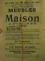 JM13.03 / VIEUX PAPIERS /  AFFICHE NOTARIALE 56 X 36 Cm / VENT.PUBL MEUBLES Et MAISON / CUSTINNE 1944 - Posters