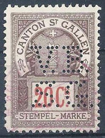 "Stempel Marke  ""Canton St.Gallen"", 20 C.braun/rot  (Perfin V.B.S.G.)          Ca. 1920 - Fiscales"
