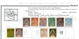Colonies Françaises Anjouan 1892/1900  N°1,2,3,4,5,6,7,8,15,17   8 €  (cote 117,90 € 10 Valeurs) - Unused Stamps