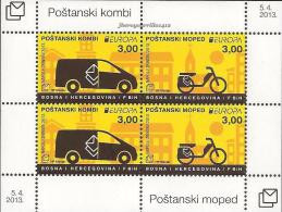 "BOSNIA CROATA MOSTAR / BOSNIA CROATIAN- EUROPA 2013 -TEMA ANUAL "" POSTAL VEHICLE""-  HOJITA BLOQUE - DENTADA - 2013"