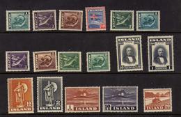 Islande (1938-50)  - Poissons - Volcan - Celebrites  - Neufs*  - MLH - Ungebraucht