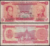 Venezuela 5 Bolivares Banknote 1970 F (4) Pick 50d   (23940 - Other - America