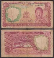TANSANIA - TANZANIA 100 Shillings (1966) Pick 5b VG/F (4/5)    (28827 - Otros – Africa