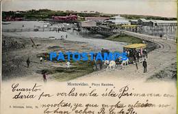 157689 URUGUAY MONTEVIDEO BEACH PLAYA RAMIREZ & TRAMWAY TRANVIA A CABALLO POSTAL POSTCARD - Uruguay