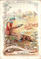 Chromo Chocolaterie POULAIN - Vie De Jeanne D'Arc N°1 Jeanne Gardant Les Moutons TBE 2 Scans - Poulain
