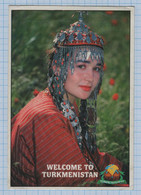 TURKMENISTAN / Photo Postcard / Advertising. Tourism. Girl In National Costume. Ethnography. 1999 - Turkmenistan